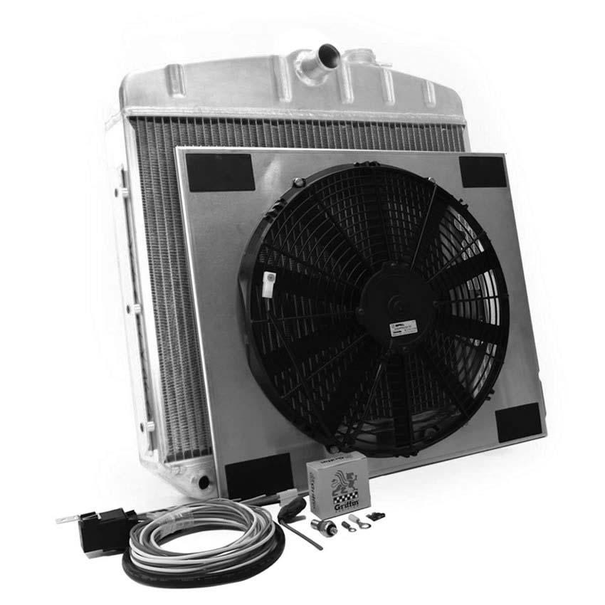 griffin radiator   electric fans chevy tri five auto trans cu 70018