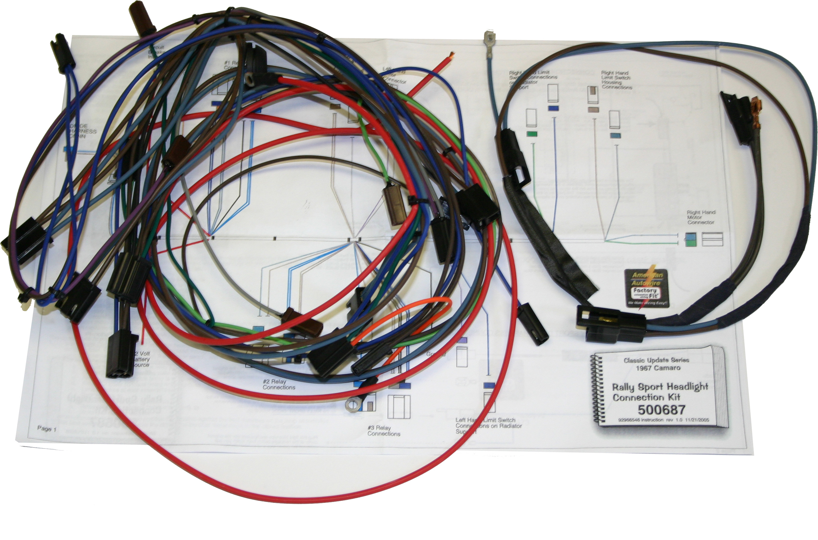 67 68 Camaro Classic Update Wiring Harness 500661 Headlight Relay Switch Kit