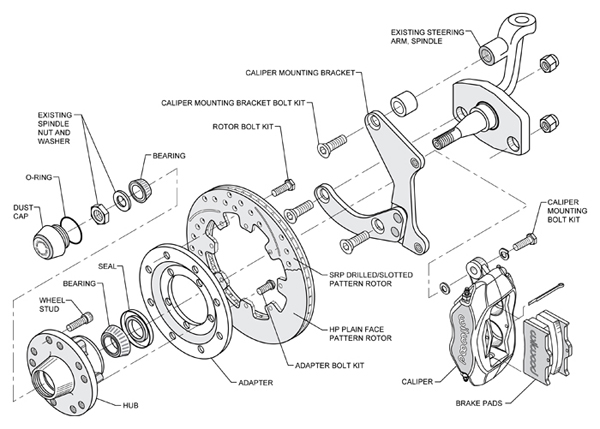 55 57 chevy full size wilwood front disc brake kit 11 75 4 piston rh mattsclassicbowties com disc brake parts list oliver 770 disc brake parts diagram