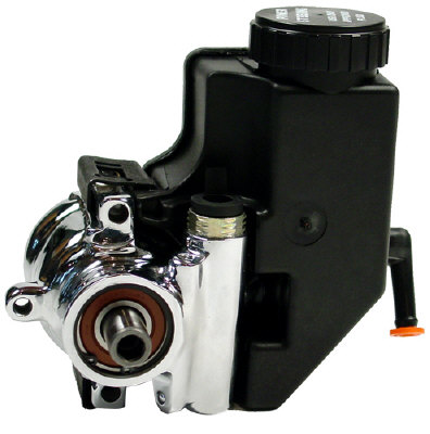 Power Steering Pump Polished Aluminum With Integral Reservoir